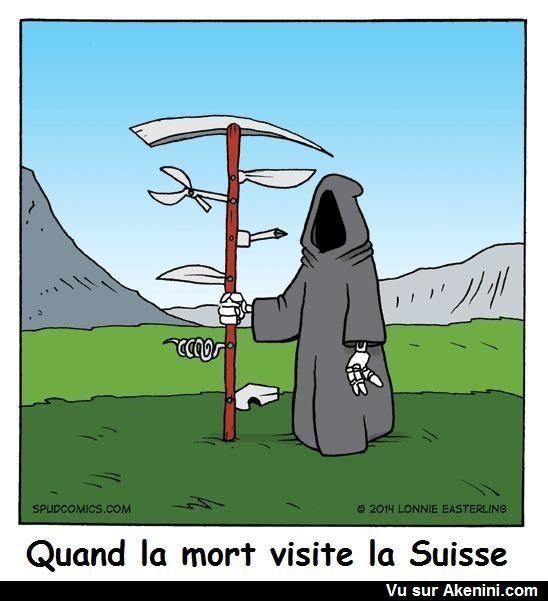 Humour Noir N°6510 - Quand la mort visite la Suisse | Humour noir, Humour, Image humour