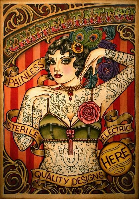 Tattoo shop poster vintage circus inspired