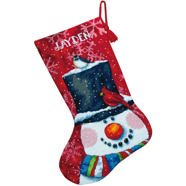 """Snowman And Friends Stocking Needlepoint Kit-16"""" Long Stitched In Wool &…"""