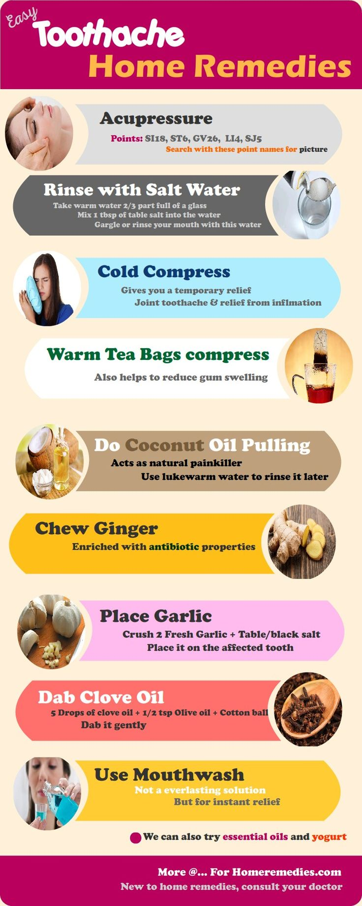 Home remedies to get rid of a toothache. Acupressure points, Saltwater ,Cold compress, clove oil for tooth pain, Tea bags, Coconut oil, Ginger benefits, Garlic, Mouthwash...