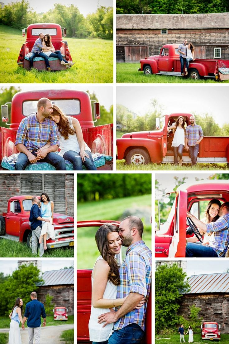romantic summer engagement photos ideas vintage red truck and country barn  | Tracey Buyce Photography #engagementphotography