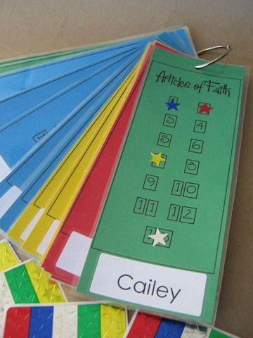 SOOOO cute. Give primary kids the Articles of faith, and when they pass it off, give them a sticker on their chart. Love this so much!