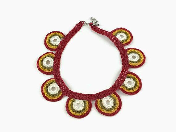 Multciolor Motifs  Statement Necklace  / Crochet  by Nakkashe