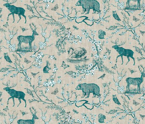 Woodland Spring Toile (Teal) fabric by nouveau_bohemian on Spoonflower - custom fabric