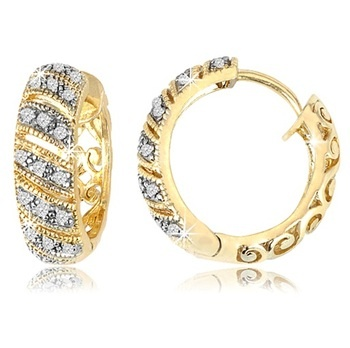 $22.99 - Diamond Accent Row Design Hoop Earrings With Filigree Backs in 18K Gold Over Silver