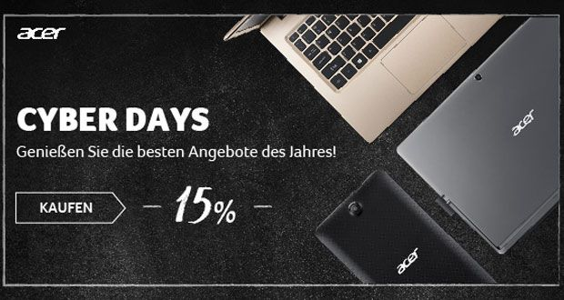 Cyber Days bei Acer mit bis zu 40% Rabatt auf ausgewählte Produkte!