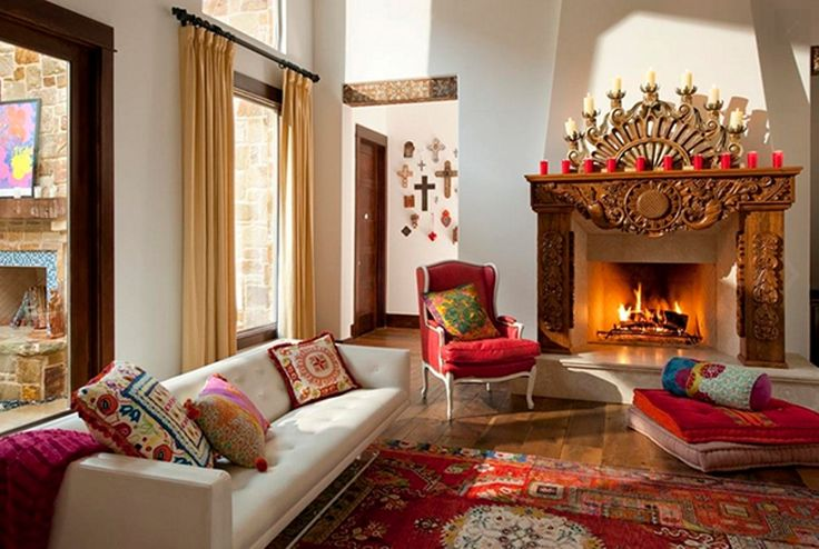 Embrace Bold Family Room Wall Colors To Sport Bohemian Interior Design Superb Wooden Fireplace With Traditional Red Rug Using White Family Room Wall Color For Bohemian Interior Design