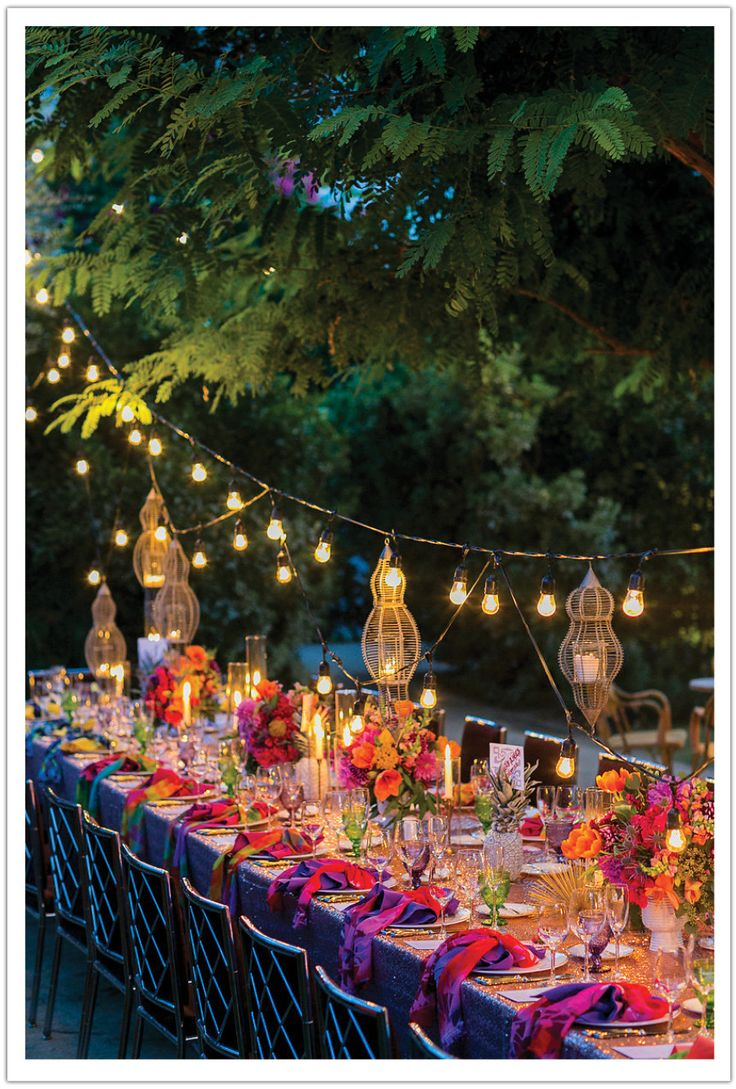 Indian table decorations - A Colorful Bold Parker Palm Springs Wedding With Bright Centerpieces Blush Linens And Bistro Lighting For This Outdoor Wedding Reception Indian Colors