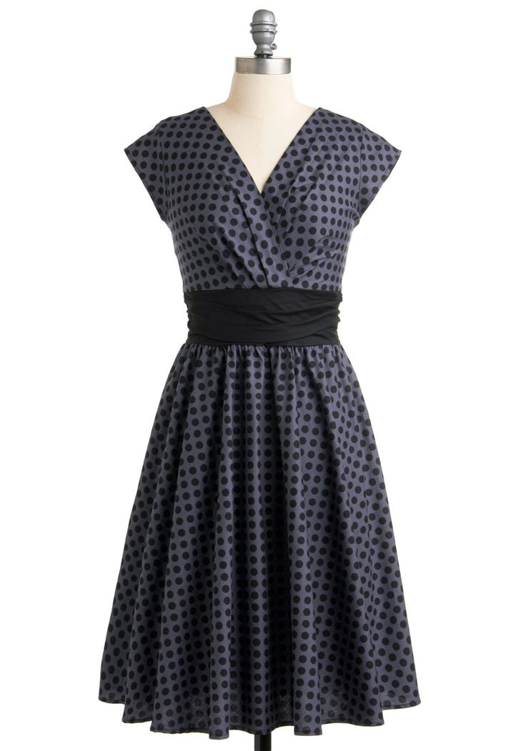 Pretty on the Park Bench Dress in Dots - Grey, Black, Polka Dots, Pleats, A-line, Cap Sleeves, 50s, Cotton, Pinup, Woven, Best Seller, Work, Full-Size Run, Variation, Long