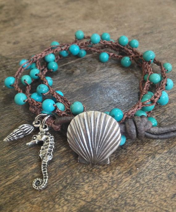 "Turquoise Sea life Multi Wrap Crochet, Leather Bracelet, Anklet, Necklace ""Beach Chic"" $40.00"