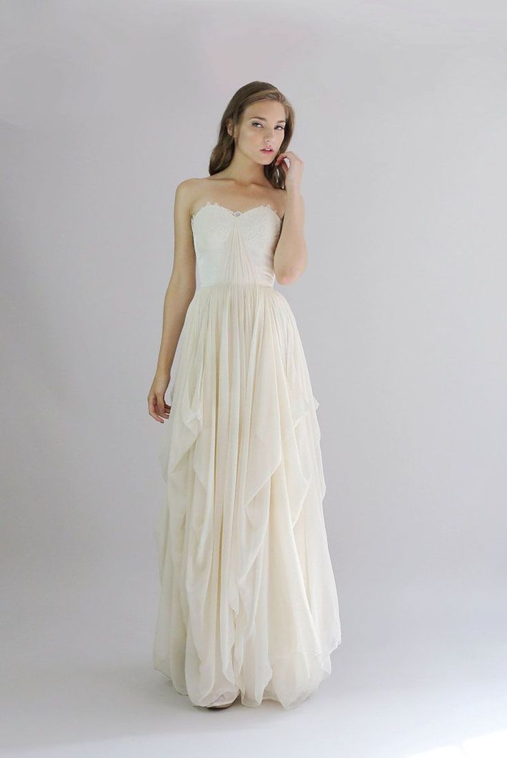Cream Lace And Soft Chiffon This Vintage Strapless Floor Length Casual Wedding Dress Is Perfect