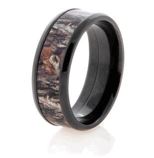 Black Zirconium Mossy Oak Ring - Mossy Oak Wedding Ring by Titanium-Buzz!