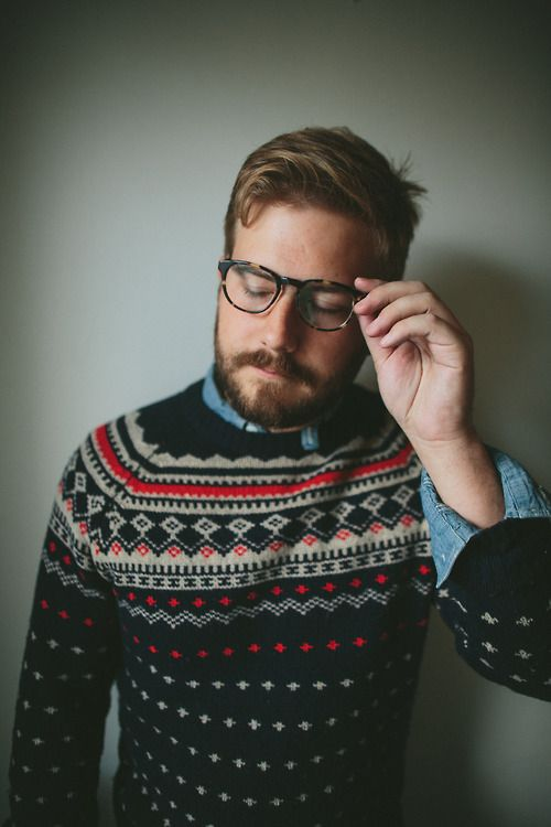 The perfect combination of sweater, specs, hair, and beard.