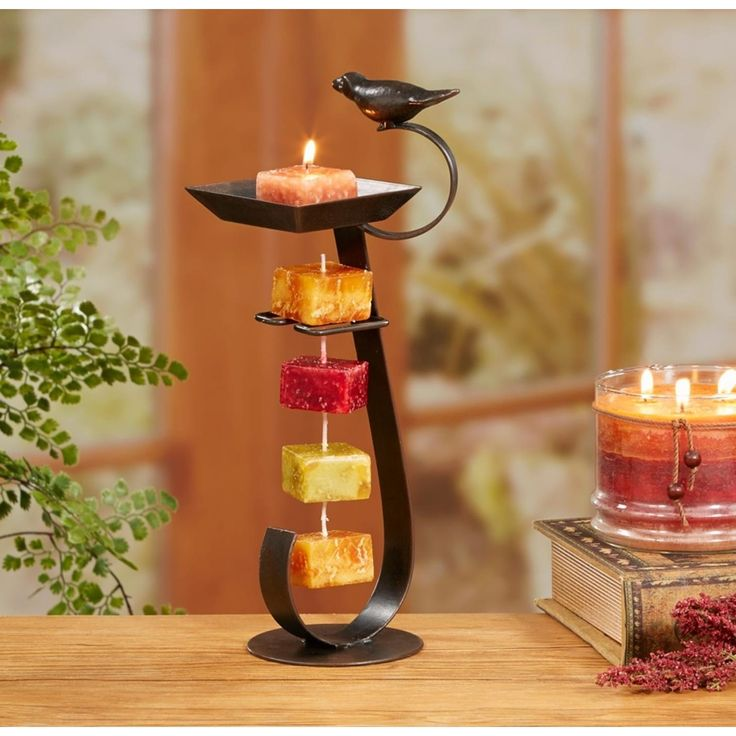 Pack of 2 Espresso Brown Bird Bath Decorative Rope Candle Holders 12