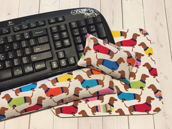 Dachshund Mouse pad set  mouse wrist rest  keyboard rest by Laa766  chic / cute / preppy / computer, desk accessories / cubical, office, home decor / co-worker, student gift / patterned design / match with coasters, wrist rests / computers and peripherals / feminine touches for the office / desk decor