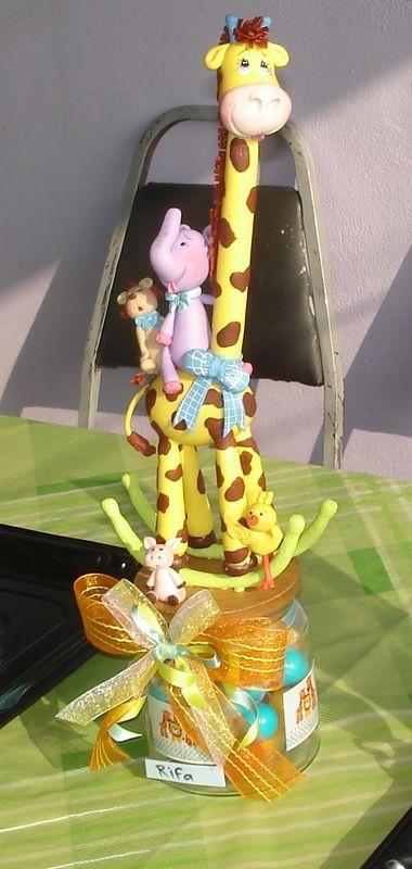 Invitacion Cajita Baby Shower Jirafa y León