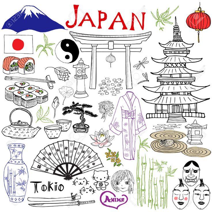 Giappone doodles elementi. Hand drawn set di montagna Fujiyama, cancello scintoista, cibo giapponese sushi e set da tè, ventilatore, maschere teatrali, katana, pagoda, kimono. Disegno doodle collection, isolato su bianco