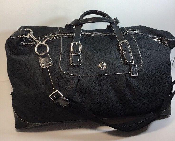 Coach Black Voyage Signature Travel Cabin XL Duffle Bag  F77115 #Coach