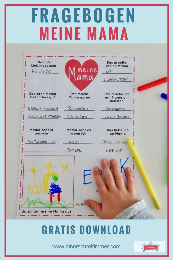 Basteln für den Muttertag inkl. Mama-Fragebogen als Download