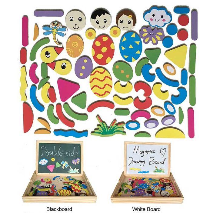 La lavagna magnetica per bambini permette da un lato di scrivere con i gessetti…