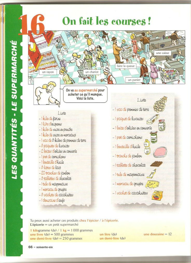 vocabulaire | excellent shopping guide | liste | tranche = slice | morceau of = piece of | paquet = packet
