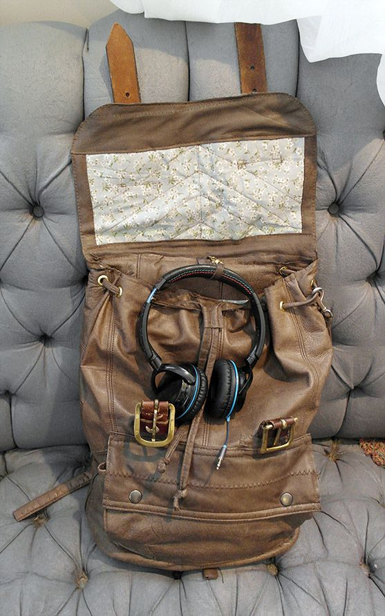 Leather backpack from upcycled jacket and two belts.