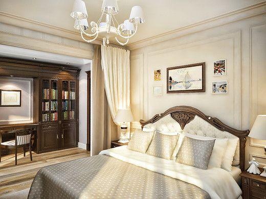 Английская классика в двухуровневой квартире. Спальня