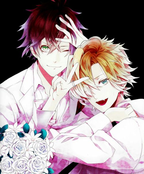 """certain-prophets-fate: """"Transparent Diabolik Lovers Sakamaki Ayato and Mukami Kou Credit for scan goes to scurumii. Thank you for letting me use it. Like or reblog if using please. Do not repost! """""""