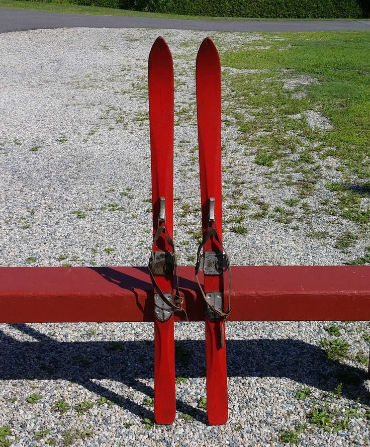 """LOVELY RED WOODEN Skis 47"""" BINDINGS W/ LOTS OF LEATHER"""