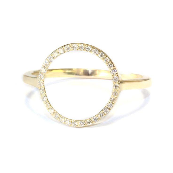 Open Circle Diamond Ring - Round Gold Ring, 14K Gold Ring , White Diamonds Open Ring, Love Ring by SillyShinyDiamonds on Etsy https://www.etsy.com/listing/181329033/open-circle-diamond-ring-round-gold-ring