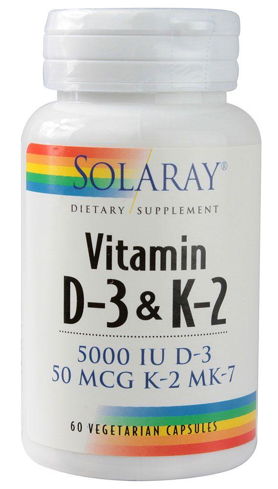 Solaray Vitamin D-3 & K-2 -- 60 Vegetarian Capsules - Vitacost Only $11.03