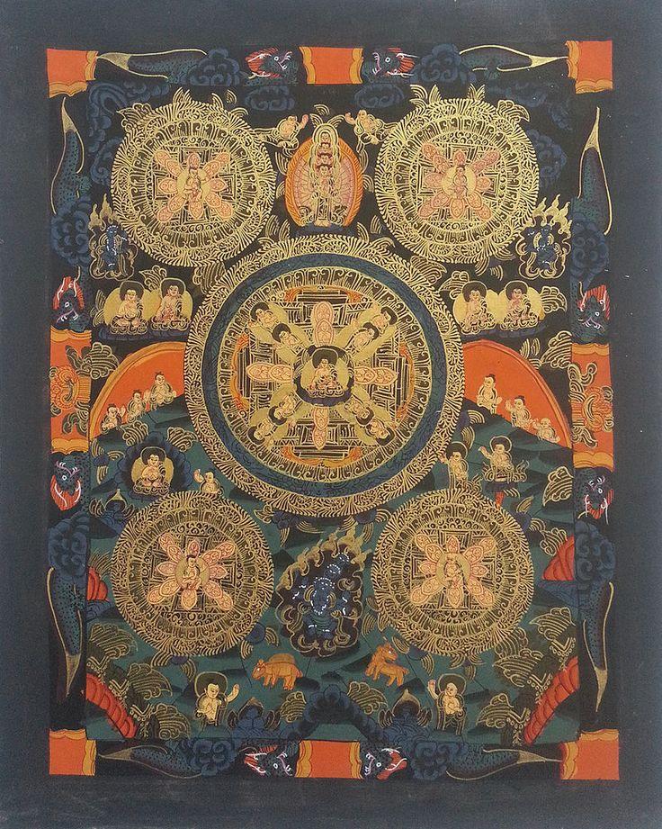 Buddha Mandala Thangka Painting Canvas Handpainted b80