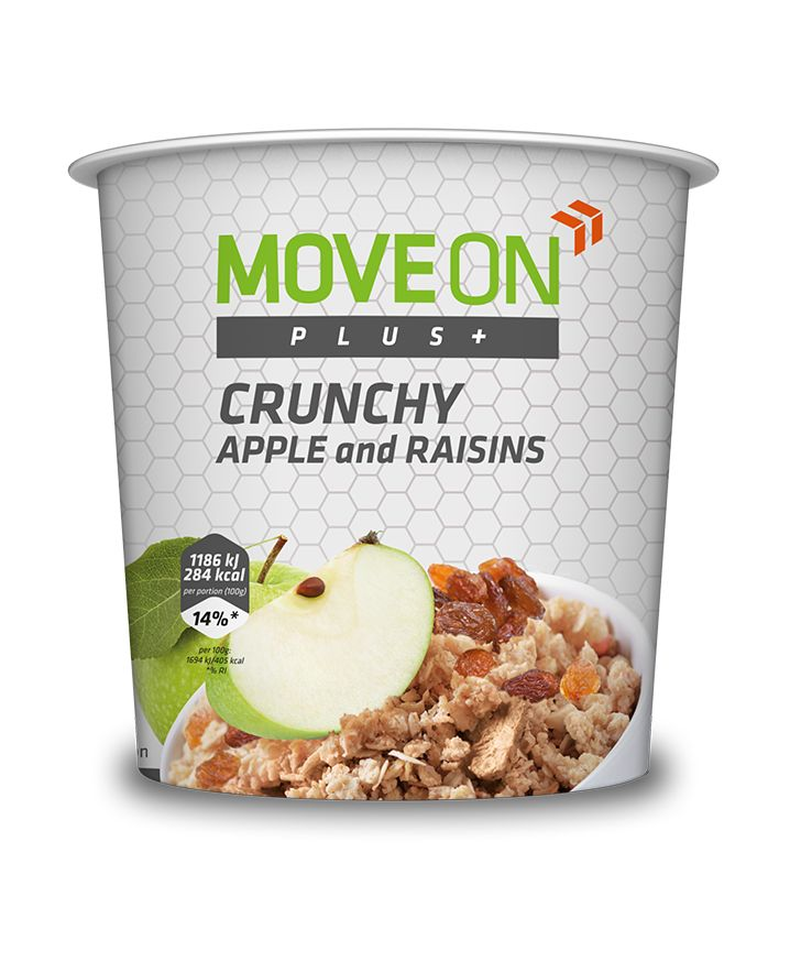 Musli ziarna z orzechami, jabłkiem i rodzynkami 70g. | Crunchy high in dietary fiber - Apple and raisins. #moveon #moveonpl #moveonsport #sport #diet #apple #nuts #raisins #protein #fiber #nutrition #healthy #lifestyle #athlete #food #jedzenie #posilek #ideas #pomysl #metabolism #crunchy #musli