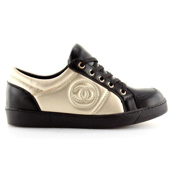 Czarne Trampki Chanelki Y612 Czarno Zlote Obuwie Damskie Sneakers Louis Vuitton Shoes