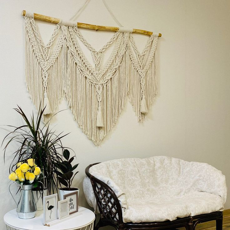 Large Macrame Wall Hanging, Above couch wall decor, Oversized framed wall art, Wall art above bed, Queen headboard, Christmas gift