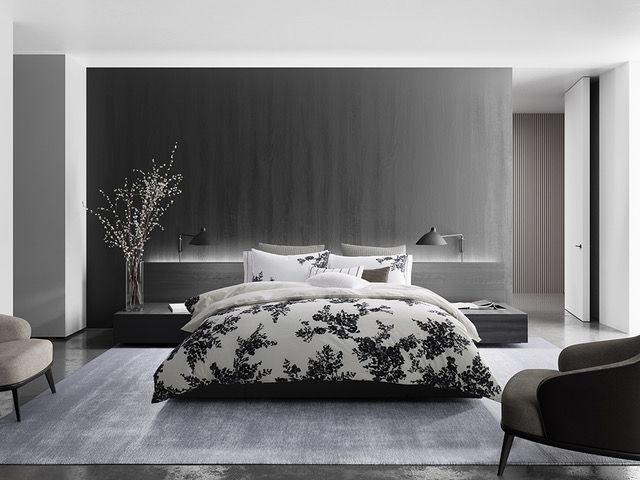 Vera Wang Ink Botanical Bedding With Images Bed Linens Luxury