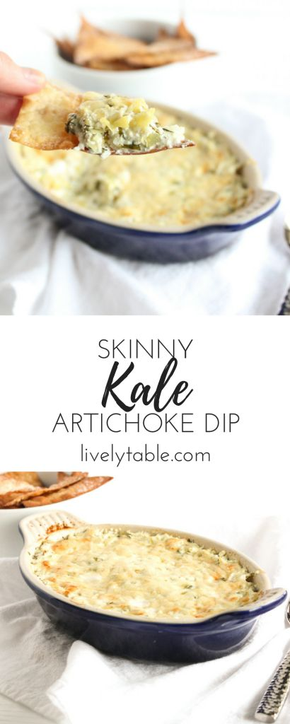 Skinny Kale Artichoke Dip is a delicious hot and cheesy dip filled ...