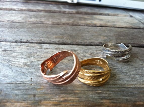Gold OR Rose Gold Feather Ring by BahgsuJewels on Etsy