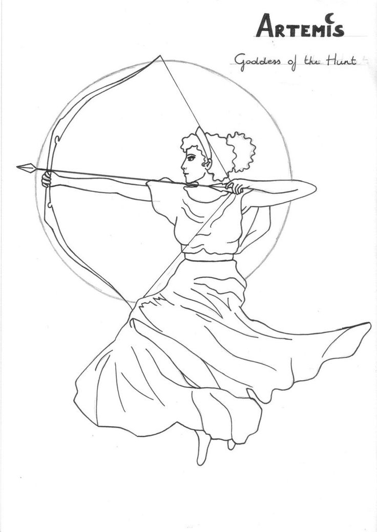 Artemis coloring page Greek God mythology Unit study by LilaTelrunya - I drew in circles on the moon to make it more realistic