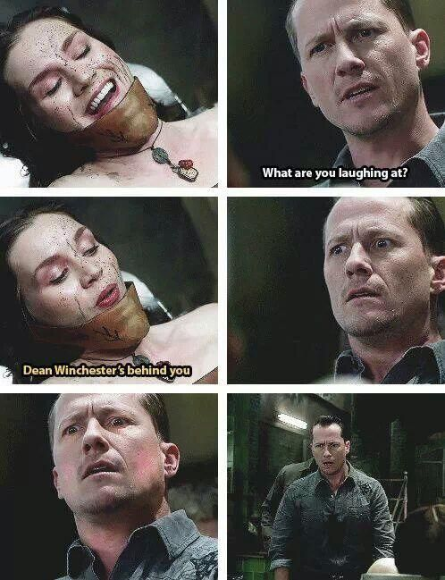 """Dean Winchester's behind you.""  Just a reminder that to monsters, Dean Winchester is what you warn your children about, the hunter under the bed."