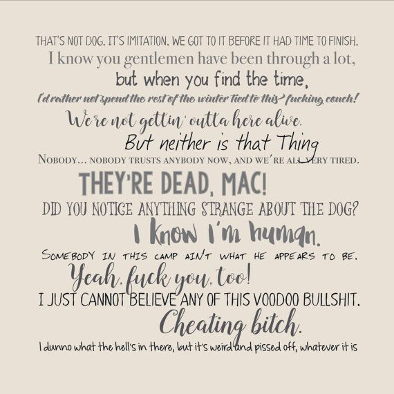 The Thing movie quote pillow cover 18x18inch - movie quotes - washable pillow cover - fiber arts - home textiles - eco inks - mature These movie quote pillows are great for any filmophile! Give them as a gift or keep them for yourself, but no matter what, they're sure to be a