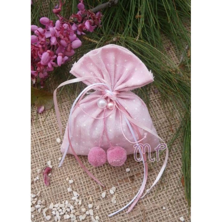 Μπομπονιέρες βάπτισης. Μπομπονιέρες βάπτισης κορίτσι πουγκί πουά ροζ με πον-πον και πέρλες