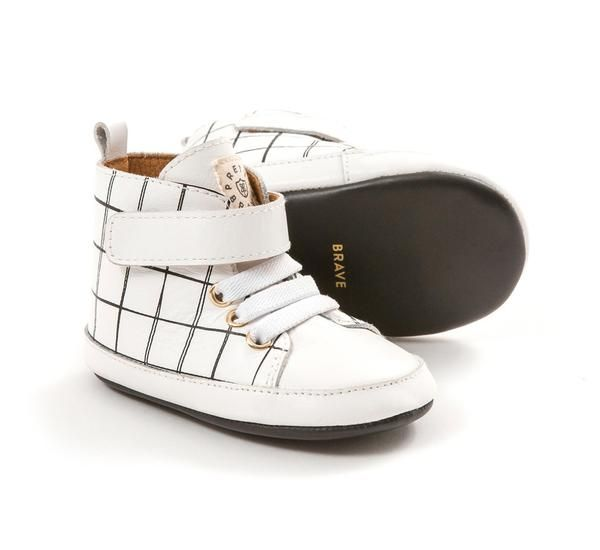 The minimalist babe will swoon over these designer hi-top, in white leather  with hand drawn grid print. Pretty Brave baby shoes are hand-made from  soft, ...