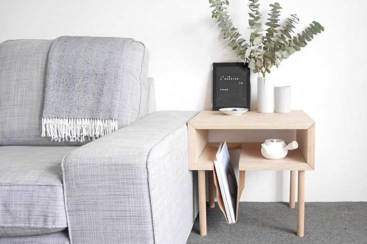 Nomad side table, Tasmanian Oak + leather sling