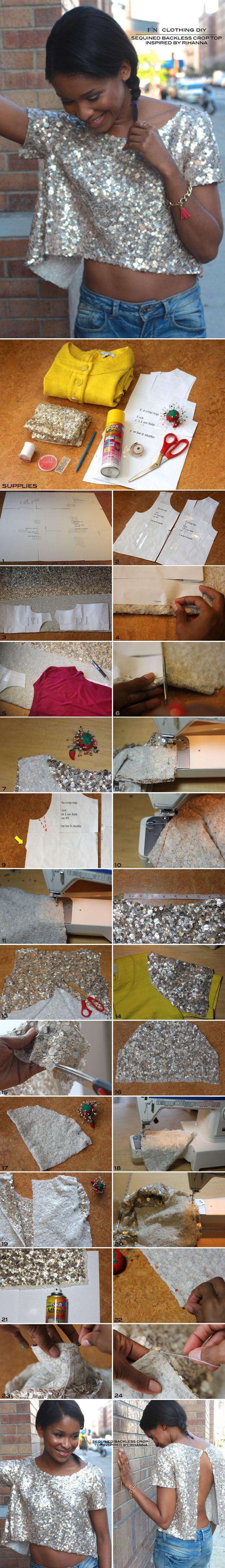 FRUGAL-NOMICS.COM DIY :: Sequin Backless Croptop Inspired by #Rihanna #diy #sequins