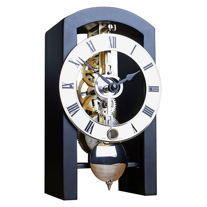 Hermle PATTERSON Black Mantel Clock 23015-740721 - Black Arched wooden case Made in Virginia featuring a mechanical time only movement.