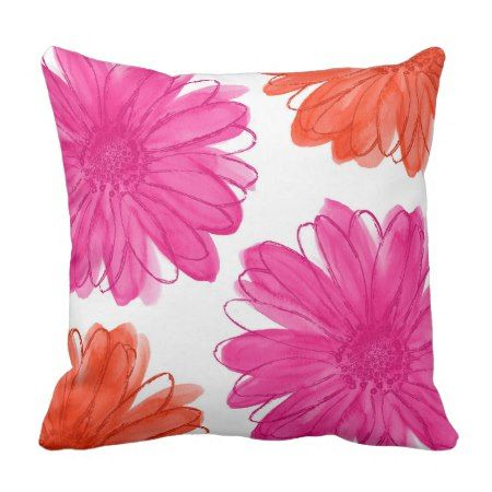 Hot Pink and Orange Watercolor Daisies Throw Pillow  #orange #pink #pillows #cushion #throwpillow #daisies #floral #pretty #bold