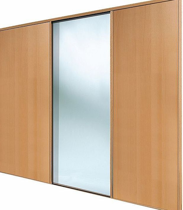 Spacepro 3 Door Sliding Wardrobe Doors Beech / 2 classic beech-effect panel doors and 1 beech framed mirror, sliding wardrobe doors. Ready assembled to fit onto matching trackset supplied. Features: Easy to Install