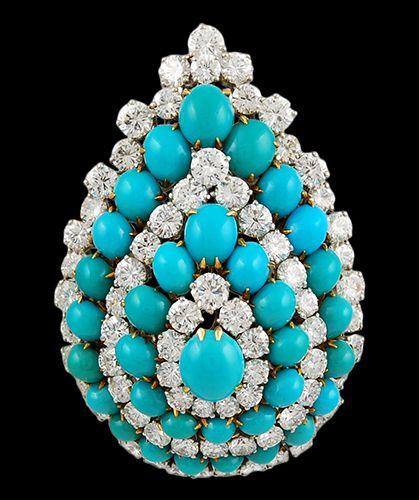 Two Tone Diamond & Turquoise Brooch - Yafa Jewelry