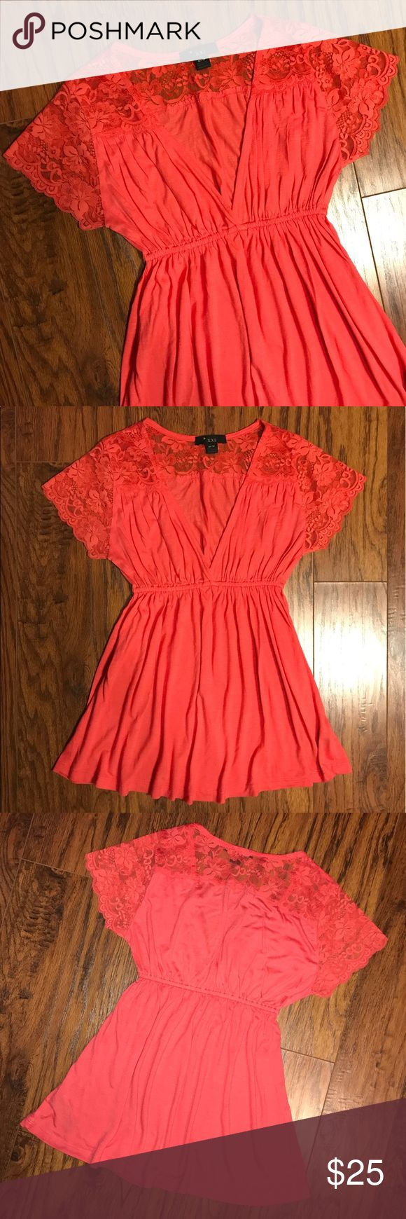 Lace Top Slinky Silky Soft Draped Coral Blouse F21 Forever 21 — Blood Orange Color (Red-ish coral) — Silky Lace On Top Shoulders, upper back, & entire Short Sleeves — Slinky Material, with perfect Draping — Elastic Cinched at Waistline — Perfect condition, like new, never worn —  Fabric: 100% Rayon Contrast: 92% Nylon, 8% Spandex Forever 21 Tops Blouses